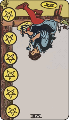 Reversed meaning of the Eight of Pentacles
