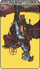 Reversed meaning of the Knight of Pentacles