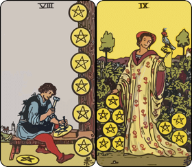 eight and nine of pentacles