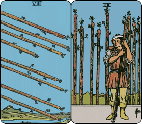 eight and nine of wands