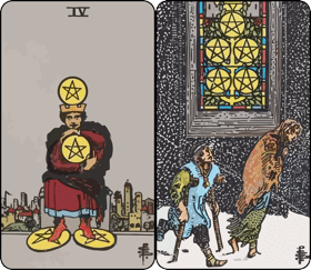 four-and-five-of-pentacles