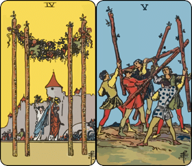 four and five of wands